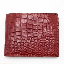 Double Side Handmade Burgundy Genuine Crocodile Leather Skin MEN Bifold Wallet