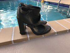 Alexander Wang Suvi Olive Green Leather Block Heel Sandals Bootie Sz 41