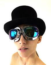 New Goggles Crazy Cyber Steampunk Victorian Fantasy Chrome Frame Blue Lens