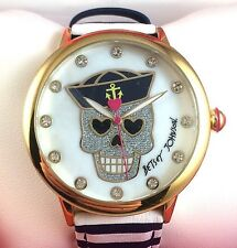 NIB Women's Betsey Johnson Nautical Sailor Skull Bling Striped Fashion Watch