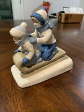 Children Sledding Figurine by Porcelana De Cuernavaca Mexico-Free Us Shipping!