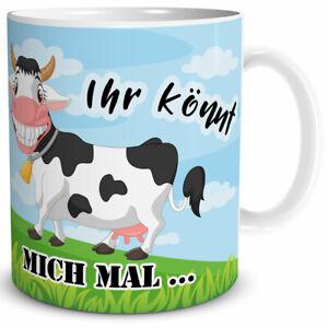 """Tasse mit Kuh """"Ihr könnt mich mal!"""" Geschenk Arbeit Kollege Freundin"""