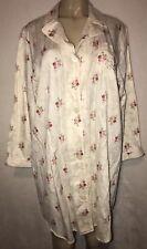 Lauren Ralph Lauren Flannel PJ Sleep Shirt Womens Cream Pink Floral Gown Size S