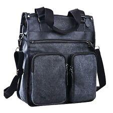 ImIflow Men's Vertical Briefcase Canvas Leather Laptop Shoulder Tote Bag Hand...