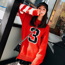 Women's Korean Style Fashion Number Pattern Loose Long Knitted Acrylic Sweaters