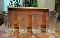 INDIANA GLASS RECOLLECTION VTG 70s Clear 14 Oz NOS  Beverage Glasses MADRID Box