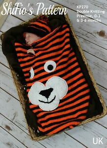 Knitting Pattern for Tiger Baby Cocoon and Hat, Preemie to 6mths, DK SKP270