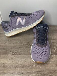 New Balance Fresh Foam Running Shoes Womens Purple Silver Sneakers Size 8