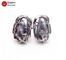 10*14mm Biwa Baroque Black Pearl Earring for Women Silver Plate Stud Jewelry 709