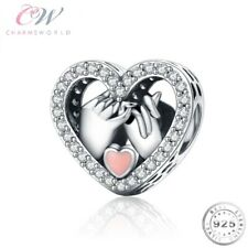 Holding Hands Heart Charm Genuine 925 Sterling Silver- Wife / Girlfriend Gift 💞