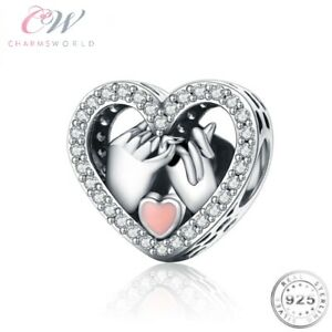 Holding Hands Heart Charm Genuine 925 Sterling Silver Wife Girlfriend Mum Gift