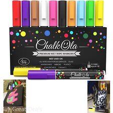 Chalkola Chalk Markers Pack 10 Neon Color Pens Chalkboard Whiteboard Window 6 mm