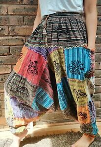 Nepalese patchwork stitched colorful Printed Durable Cotton baggy yoga pant.
