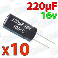 10x Condensador 220uF 16v electrolitico 105ºC 20% 6x8 PCB PIC Arduino