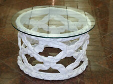 """VINTAGE 70's ROUND RESIN RIBBON COFFEE SIDE TABLE IN STYLE of TONY DUQUETTE 24"""""""
