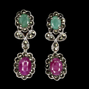 Heated Oval Red Ruby Emerald Sapphire Marcasite 925 Sterling Silver Earrings