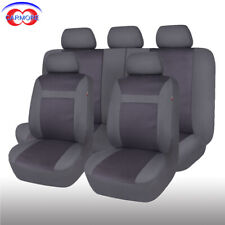 Full Set 11pc Jacquard Car Seat Covers Universal Airbag Compatible grey charcoal