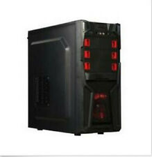 DIYPC Solo-T2-R Black USB 3.0 ATX Mid Tower Computer Case with 2 x Red Fans.