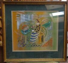 VYTAUTAS KASIULIS Original Gouache Painting Flower Vendor circa 1960