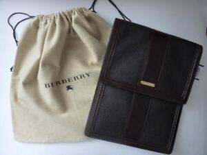 NWT BURBERRY Brown Leather Bridle Nova Check Tablet Sleeve $425.00 - Dustbag