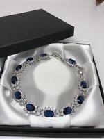Blue Sapphire White Topaz Stone Tennis 925 Sterling Silver Bracelet FREE Box