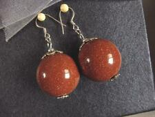 Earrings Gold Stone 20mm Round Beads 925 LL01