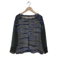 Raquel Allegra Blouse Top 1 Green Blue Tie Dye Long Sleeve 100% Silk Women's