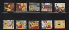 JAPAN 2014 DISNEY CHARACTERS WINNIE THE POON 82 YEN COMP. SET OF 10 STAMPS USED