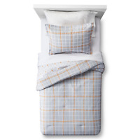 Sabrina Soto Twin Full/Queen Duvet Cover And Pillow Sham Set Gray Plaid *NEW*