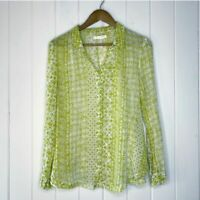 Anthropologie Hei Hei Blouse Small Daytrip Green Floral Button Front