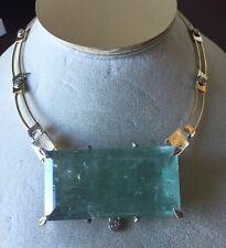 Gigantic Huge 246 ct aquamarine 1.6 ct diamond 14k yellow gold necklace choker