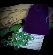25 GLASS RUNE STONES & BAG  Wicca pagan Divination Witch Yule Gift
