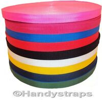 "Polypropylene Webbing 10 meter Roll x 25mm colour 1"" and Choice of Colour"