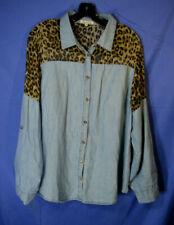 BOTTLETTE Long-Sleeve Shirt/Top DENIM/LEOPARD CHIFFON & DENIM Button-Down sz 3XL