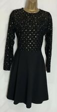 Dorothy Perkins Sample Black Cotton Stretch Lace Detail Dress Size 12  (7)