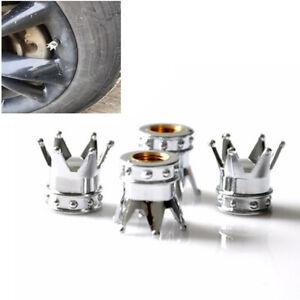 4pcs Crown Chrome Car Valve Cap Tire Cap Air Valve Stem Screw Cover Wheel Rims