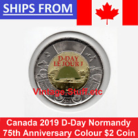 2019 Canada 75th Anniversary D-Day DDAY $2 Coloured Toonie WW2 WWII UNC Color