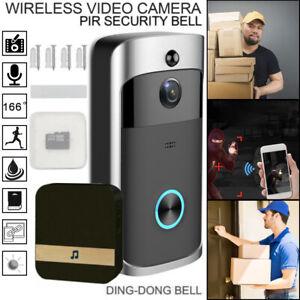 Smart Wireless WiFi Doorbell Phone Door Bell Two-Way Talk Camera Security Black