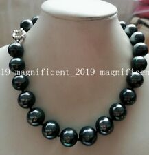 New 16mm Black Round South Sea Shell Pearl Necklace 18'' AAA+