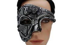 Men Women Shiny Black Halloween Costume Half Face Mask Steampunk Rave Mardi Gras