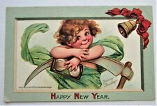Brundage BABY New Year with Scythe and Hourglass Embossed Unused Postcard