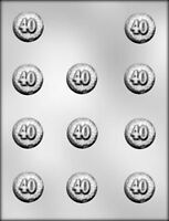 40TH CELEBRATION ROUND BITE SIZE CHOCOLATE CANDY MOLD PARTY FAVOR CUPCAKE TOPPER