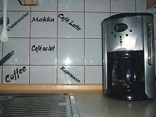 6 Fliesenaufkleber -6 Küchentattoo - Coffee Cappuccino Espresso-  Diverse Farben