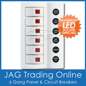 6 GANG WHITE DELUXE LED ROCKER SWITCH PANEL & CIRCUIT BREAKERS - BOAT/MARINE/RV