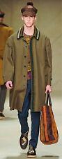 $3,595 RUNWAY Burberry Prorsum Men 38 48 Khaki Crochet Beaded Trench Coat Jacket