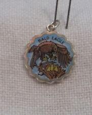 Vintage REU Silver Plated/Enamel Bald Eagle w/Nest & Chicks Bracelet Charm - NOS