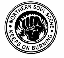 Northern soul keeps on burning sticker scooter mod wigan torch