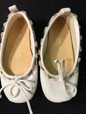 WHITE SATIN ballet style shoe slippers embroidered With Flowers GIRLS SZ 10 NEW!