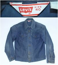 Vtg Retro Blue 80s Levi's Denim Jean Jacket Distressed Well Worn Jacket Size 40