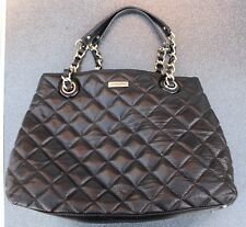 Kate Spade New York Black Quilted Purse Bag Handbag Leather Chain Handle Quilt